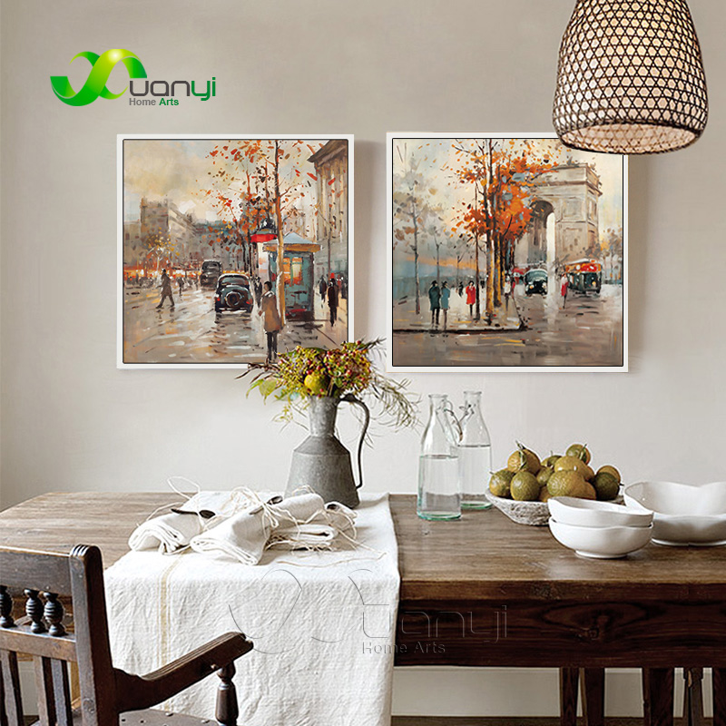 2 шт., современная картина, уличный пейзаж, картина маслом, настенное художественное изображение для гостиной, печать на холсте, без рамы, PR1167