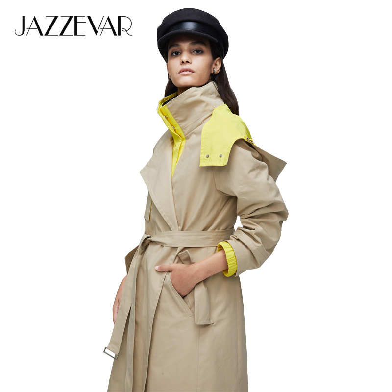 JAZZEVAR2019 New arrival autumn   trench   coat women outerwear quality with a hood double breasted top long coat women fashion 9021