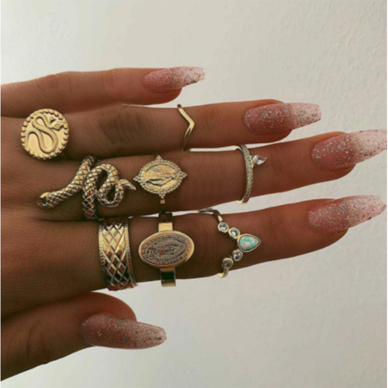 docona Bohemia Snake Coin Profile Ring for Women Gypsy Geometric Carving Knuckle Midi Rings set Jewelry Anillos 8pcs/set 8852