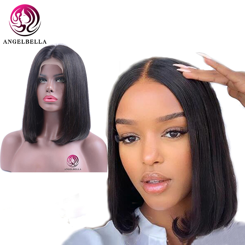 Angelbella 13x6 Long Parting Short Bob Human Hair Wig With Baby Hair Bleached Knot 180% Density Remy Hair Lace Front Wigs