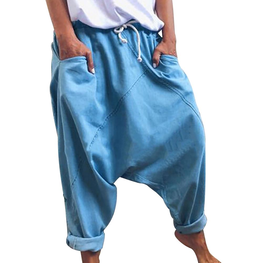 Men Harem Pants Trousers Boho Mid Waist Pants Women Solid Check Pants Baggy Wide Leg Casual Capris 2020