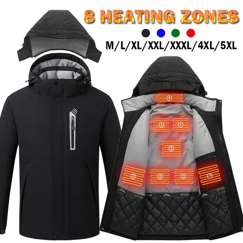 Inteligente jaqueta de aquecimento elétrico esportes ao ar livre casaco de inverno com tampa e M-5XL usb elétrica 8 áreas colete aquecimento roupas quentes