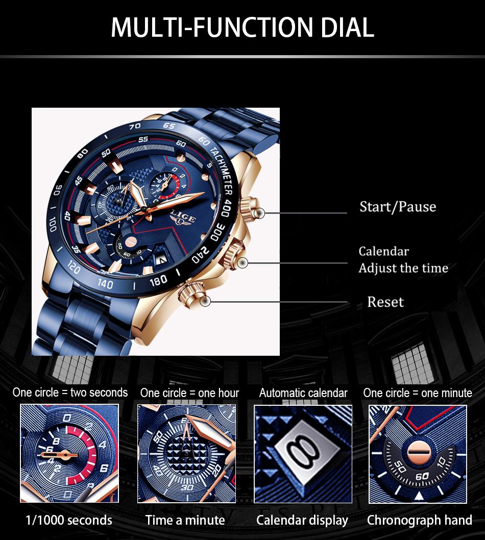 LIGE 2020 nuevos relojes de moda para hombre con Acero Inoxidable marca superior de lujo deportes cronógrafo reloj de cuarzo hombres Relogio Masculino 6