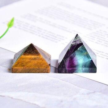 Натуральный флюоритовая, Хрустальная пирамида кварца излечивающая Камень Чакра рейки с украшением в виде кристаллов тигровый глаз точки д...