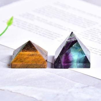 Натуральный флюоритовая, Хрустальная пирамида кварца излечивающая Камень Чакра рейки с украшением в виде кристаллов тигровый глаз точки для домашнего декора из драгоценного камня 1 шт.