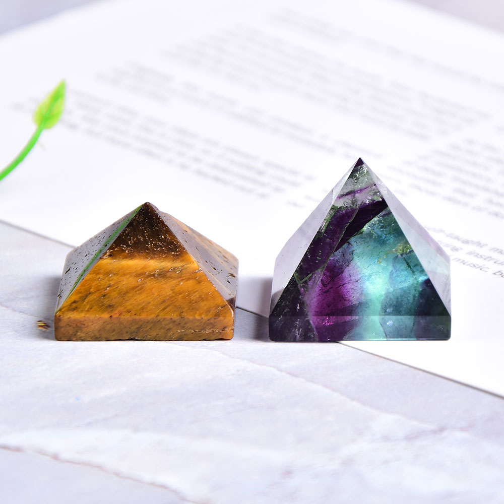 Natural Fluorite Crystal Pyramid Quartz Healing Stone Chakra Reiki Crystal Tiger eye point Home Decor Crafts Of Gem Stone 1PC(China)