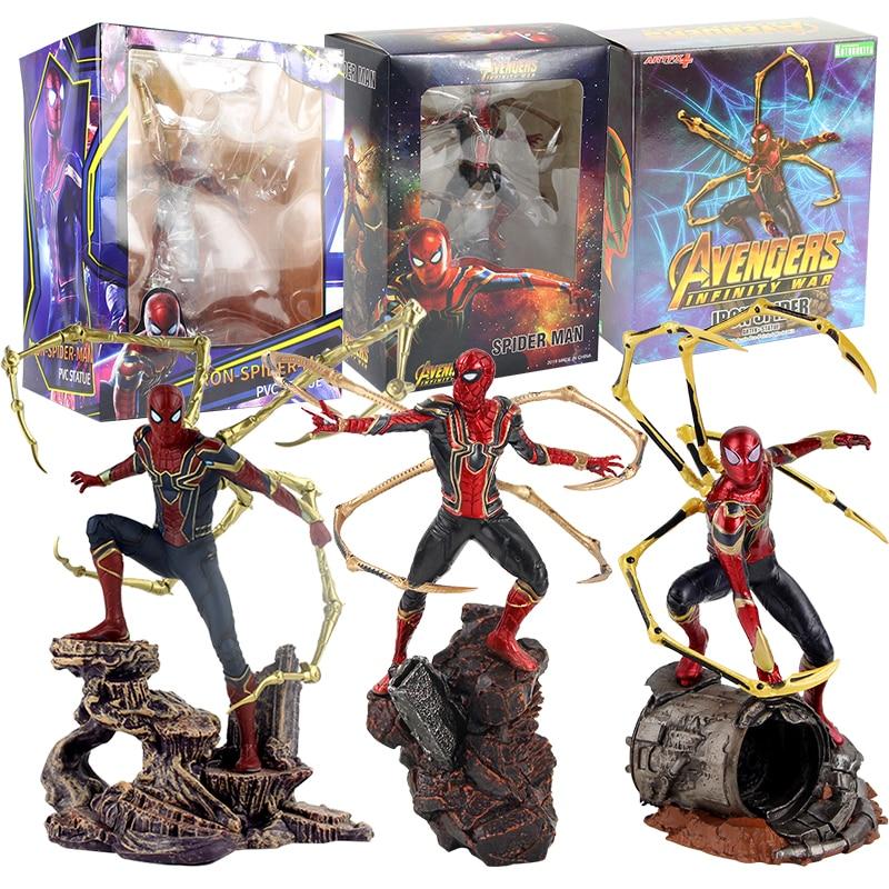 22-25 см Мстители Бесконечность война Железный человек паук статуя ПВХ супергерой коллекция Человек-паук фигурка игрушка подарок