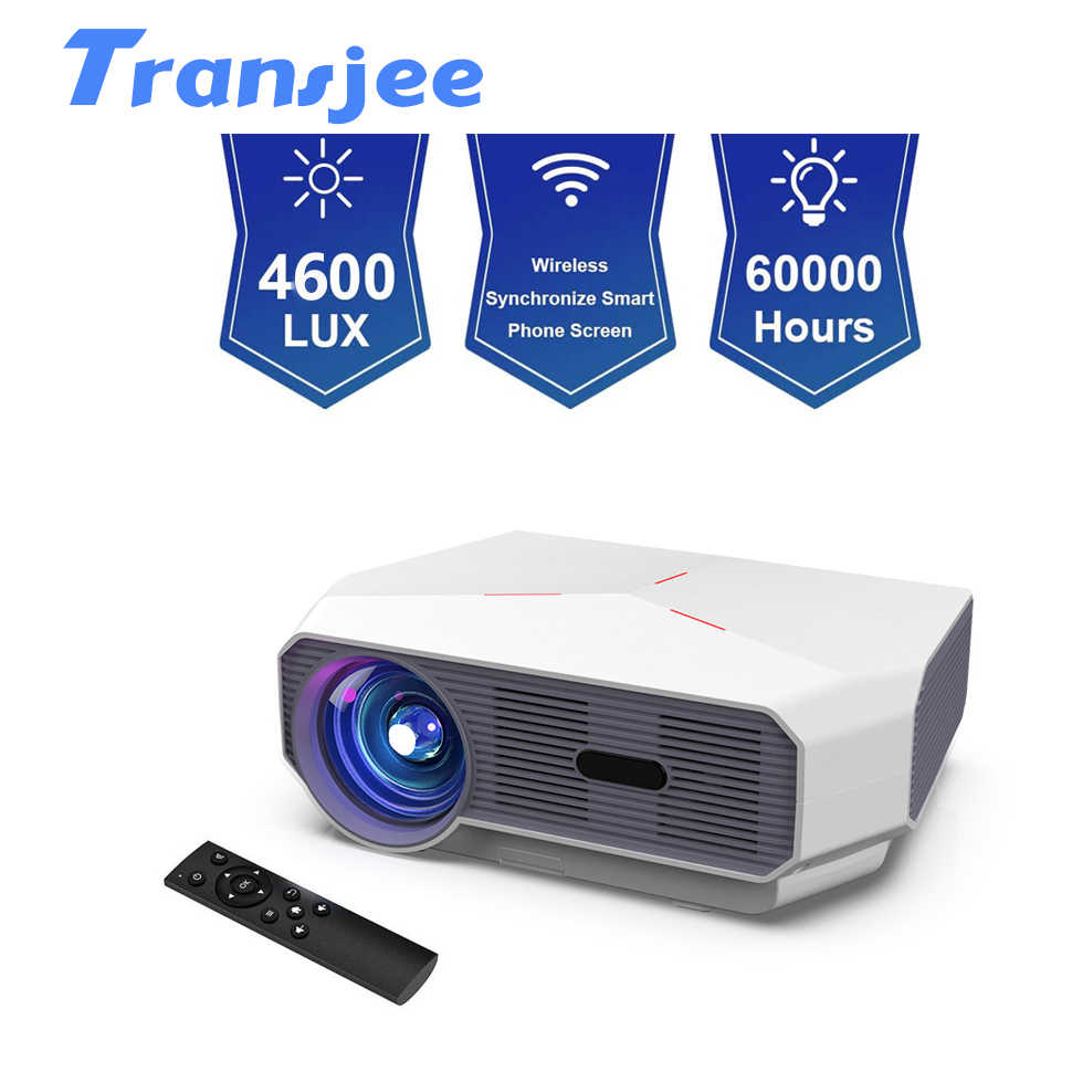 TRANSJEE projecteur LED 1280x720HD Home Cinema film projecteur 3D vidéo Beamer Support 1080P 4600 Lumens A4300AIR