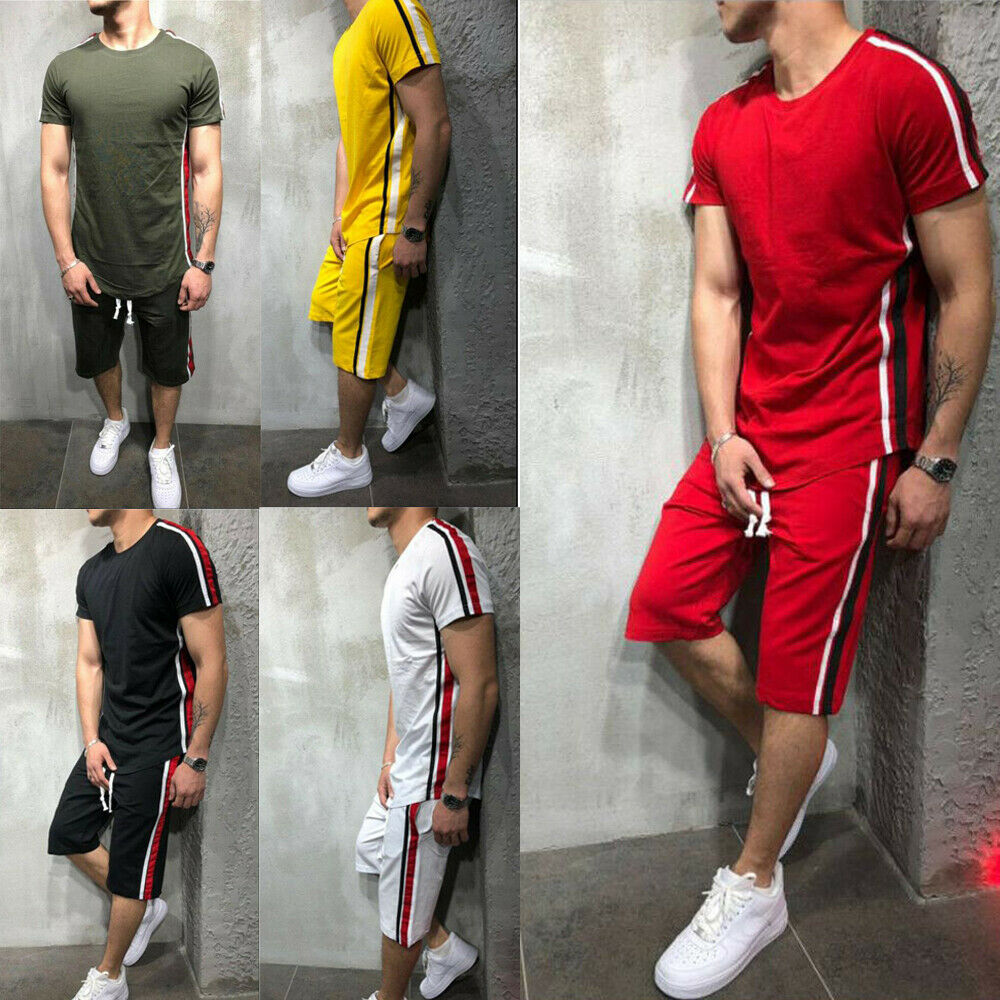Hot Sale Summer American Football Fitness Suit Mens Striped Tracksuit Jogging Top Bottom Sport Shirt Suit Trousers Pants Set