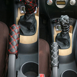 Image 5 - 2Pcs/Set gear shift knob covers boot for decorations Faux Leather Hand Brake Case Car Interior Decor Shift Knob Shell