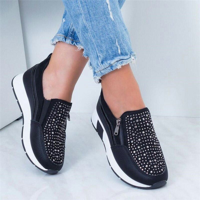2019 Women Sneakers Black Zipper Platform Trainers Rhinestone Shoes Woman Casual Lace-Up Tenis Feminino Zapatos De Mujer Womens