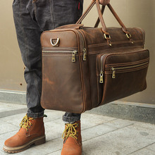 Men's Crazy Horse Leather Travel Bag Cow Leather Big Travel
