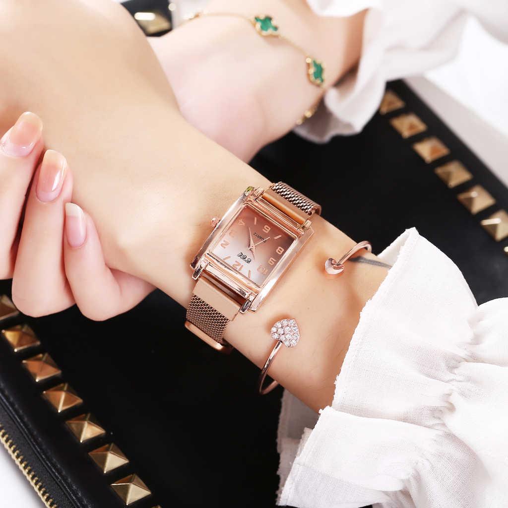 Ccq mulheres ímã fivela gradiente cor árabe números relógio de luxo senhoras quadrado caso forma relógios quartzo relogio feminino