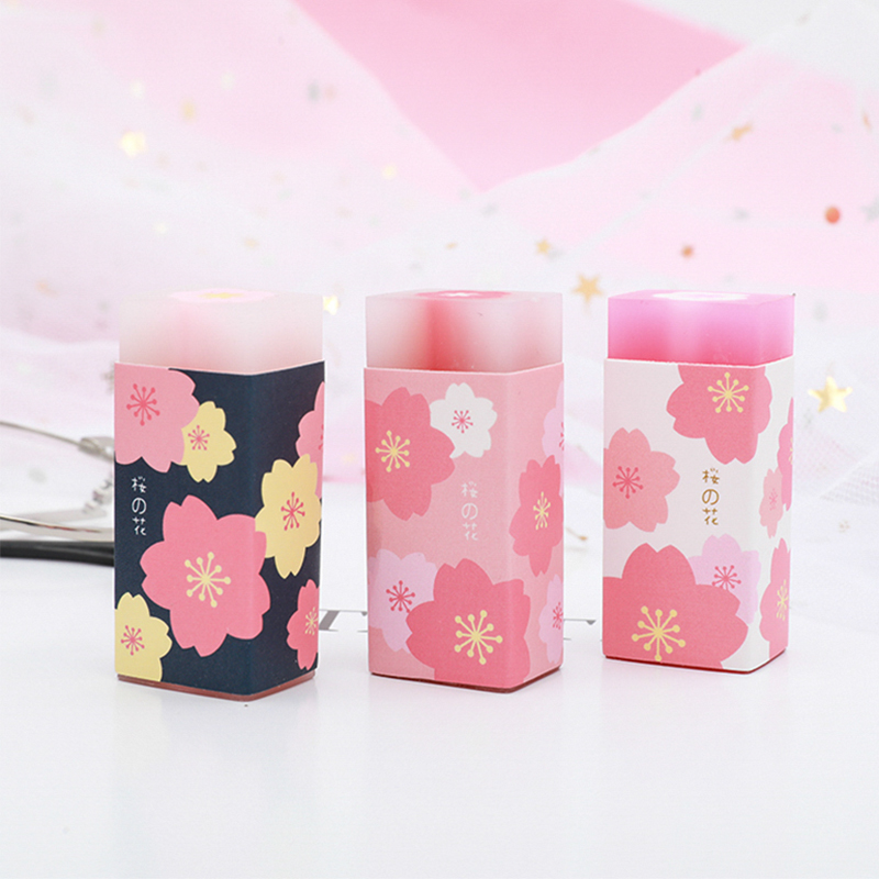 1 Pc Cute Sakura Eraser Sandwich Elementary Eraser Art Supplies Creative Kawaii Stationery School Office Supplies