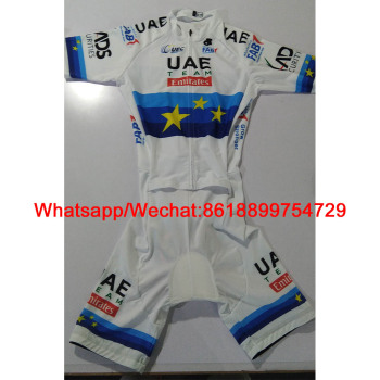 2020 Europe Champion Uae Team Emirates Cycling Skinsuit Custom Bike Triathlon One-piece Bodysuit TriSuit Speed Ciclismo Jumpsuit 2