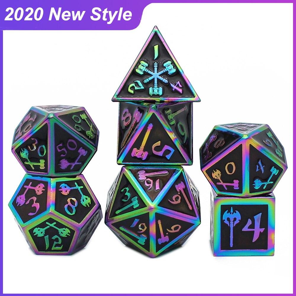 2020 Новый стиль металлические кости ролевые игры MTG игральные кости DnD включают в себя кубика разные цвета D4 D6 D8 D10 D12 D20 кубик для настольной иг...