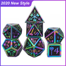2020 New Style Metal Dice RPG MTG DnD Dice Include Dice Pouch A Variety of Colors D4 D6 D8 D10 D12 D20 Board Game Dice Set