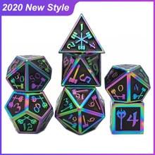 2020 novo estilo de metal dados rpg mtg dnd dice incluem bolsa de dados uma variedade de cores d4 d6 d8 d10 d12 d20 jogo tabuleiro conjunto de dados