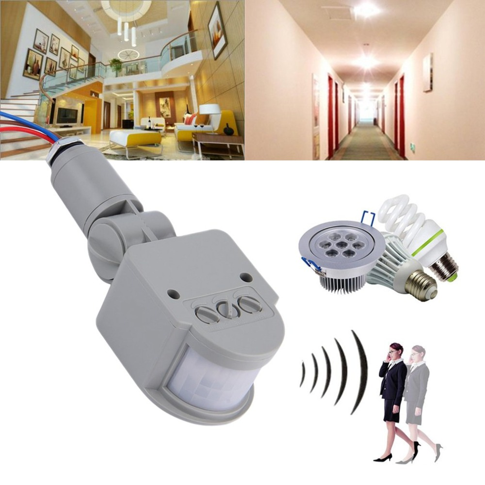 Infrared PIR Motion Sensor Switch With LED Light AC 220V Automatic Outdoor Motion Sensor Light Switch 140 Sensor Degrees
