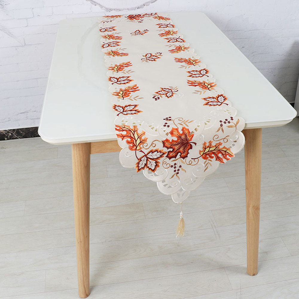 38*176cm OurWarm Thanksgiving Maple Leaves Turkey Table Runner Cloth Autumn Thanksgiving Christmas Table Decoration For Home
