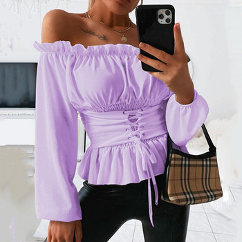 Cold Shoulder Tops Ruffles Tunic Lantern Long Sleeve Vintage Blouse Femme White Shirt Ladies Blouses Sweet Blusas De Mujer 2020 pink hollow design cold shoulder long sleeves blouses