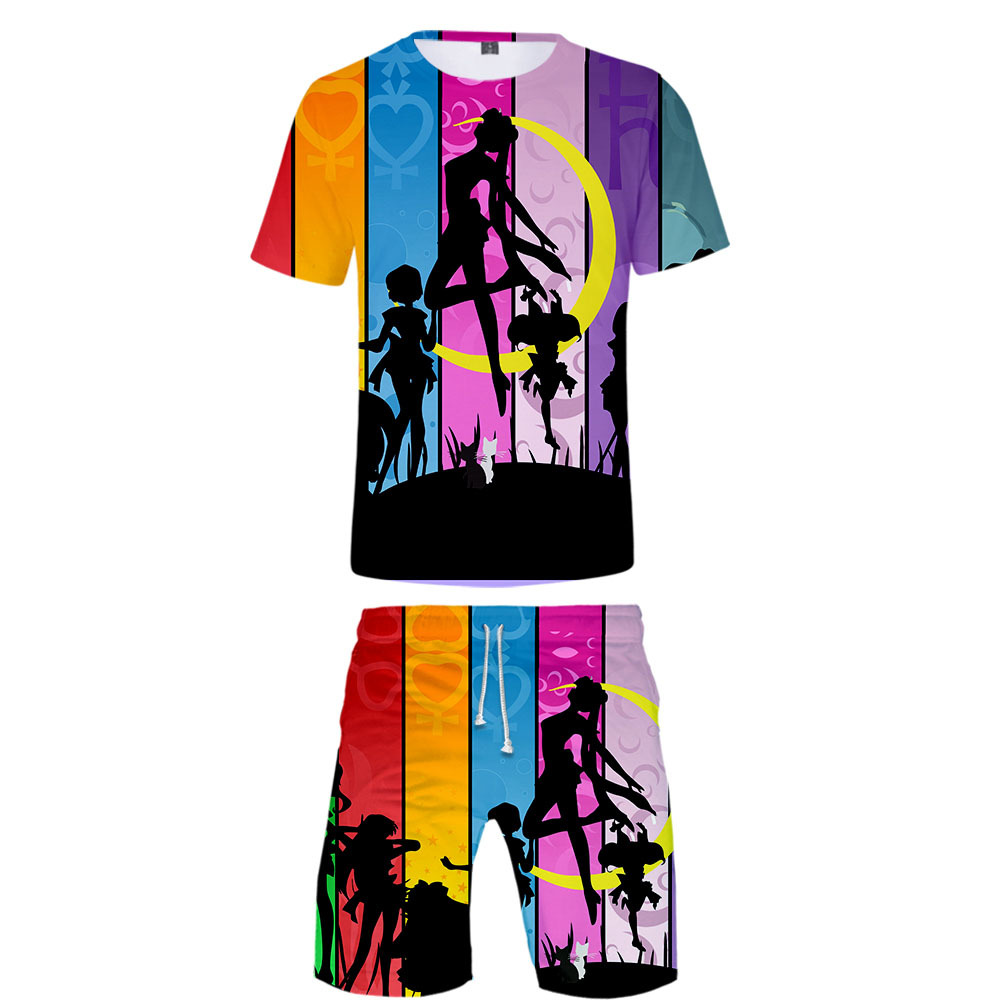 New Style Japan Anime Sailor Moon 3D Printed Men And Women-Short Sleeve + Beach Shorts