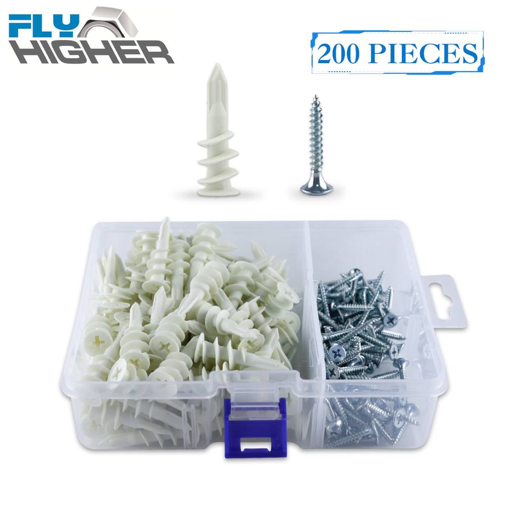 200pcs Nylon Self-Drilling drywall / plasterboard Anchor with tapping screw kit