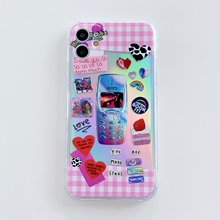 cartoon design Soft TPU Cover Phone Case For iPhone 11 Pro X Case Transparent Phone Case  Transparent Bling beautiful Back Cover