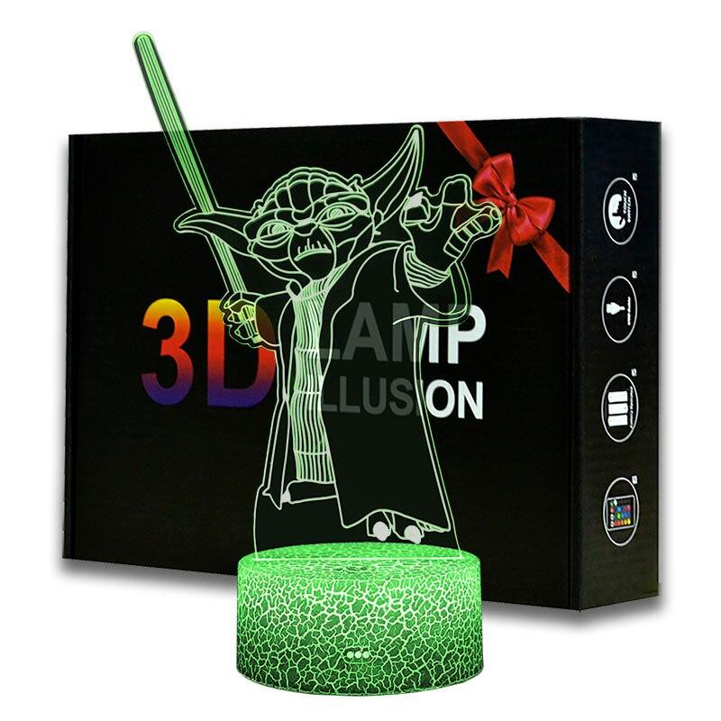 3d Led Night Light Star Wars Yoda Figure Desk Lamp for Kids Bedroom Decor Table Lamp