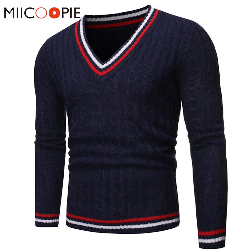 Men V-Neck Sweater Pullovers New Fashion Korean Style Color Striped Mens Knitted Sweater Tops Warm Blouse Trui Mannen Streetwear