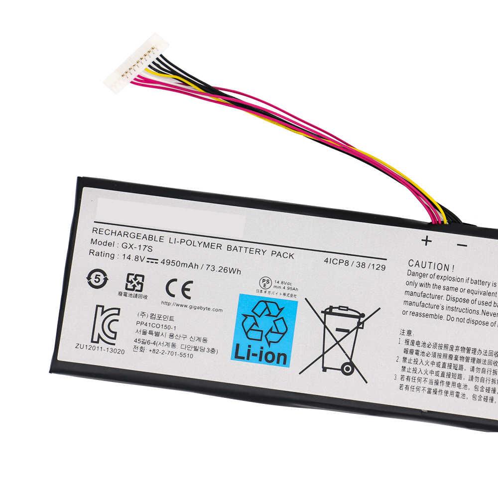 Batteria del computer portatile GX-17S Per Gigabyte Ga-Aorus X3 Più V3 Più V5 X5 X5S X7 V2 V3 V4 V5 V6 73.26Wh 4950mAh 14.8V