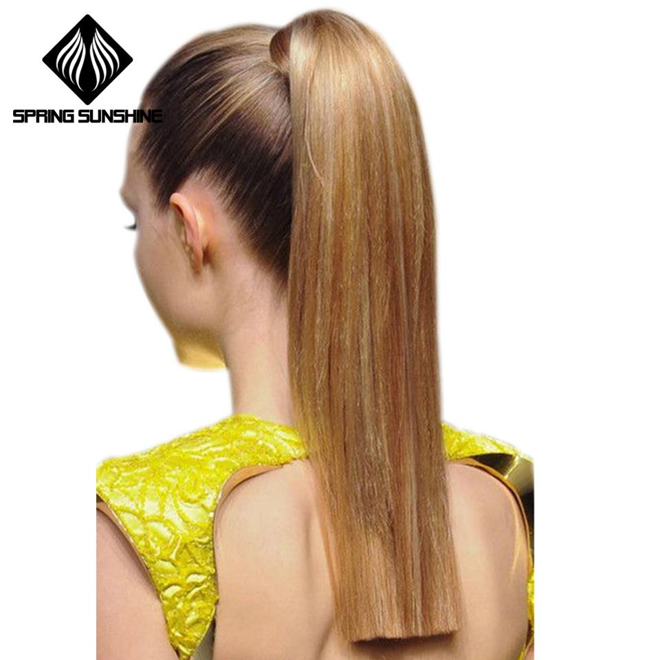26inch Ponytail Hairpiece 60cm Female Long Straight Clip Hair Tail False Hair With Hairpins Synthetic Hair Extensions