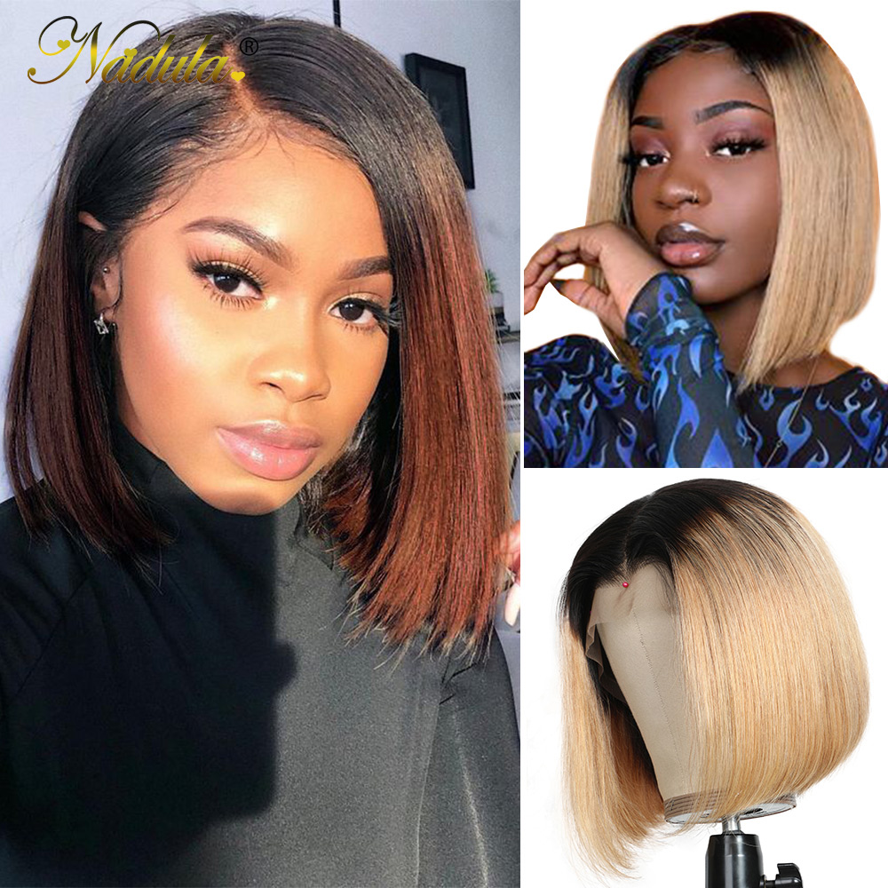 Nadula Wig T1B27 & 1B/4 Ombre Short Lace Front Wig 13*4 Straight  Bob Wig Pre Plucked Short Wigs for Black Women 1