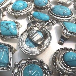 Image 3 - Retro Turquoises แหวนปรับ Bohemian แหวน 50 ชิ้น/ล็อตขายส่ง
