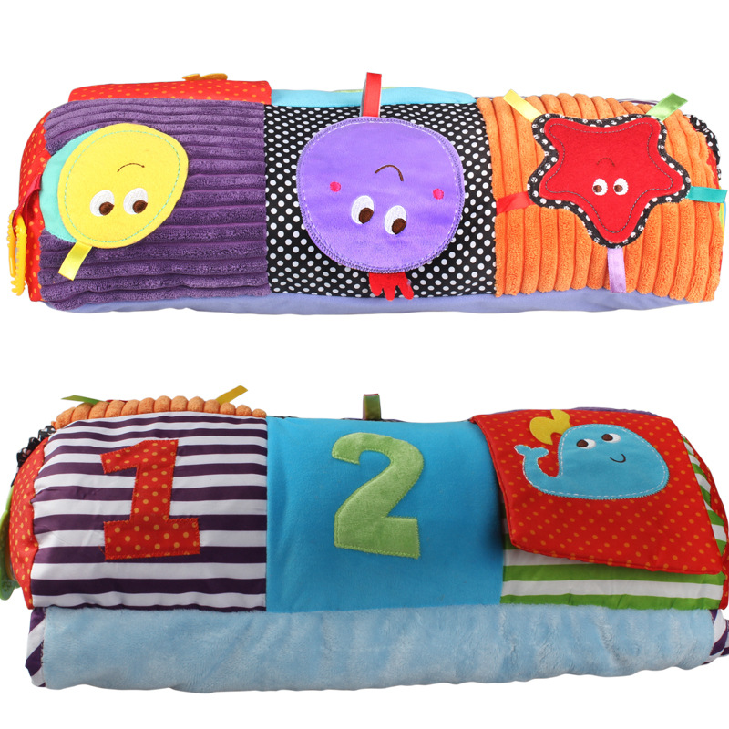 Infant Educational Crawl Pad Children Play Game Mat With Bell Teether Baby Climbing Pad Pillow