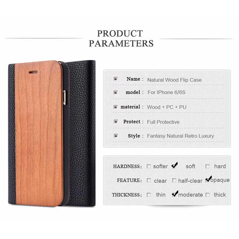 Bambu doğal ahşap iphone için kılıf 11 Pro Max X XS XR 8 7 6 6S artı Samsung Galaxy S10 S9 s8 S7 kenar Flip deri kılıf kapak