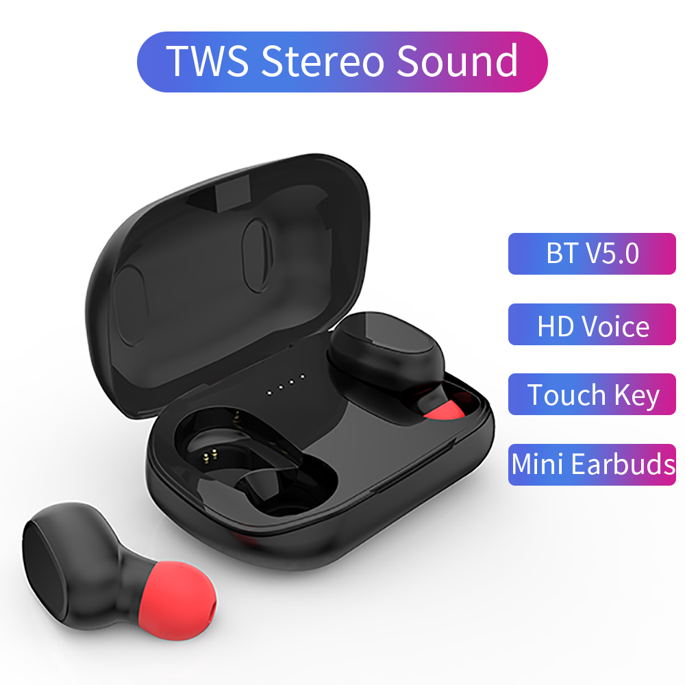 NEW TWS Bluetooth Earphone V5.0 Stereo Wireless Earbus HIFI Sound Sport Earphones touch control Mini Headset with Mic for Phone