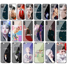 Exo K Pop Baekhyun Tempered Glass Phone Case for Apple iPhone 11 Pro XS Max XR X 8 7 6S Plus 5S SE Cover(China)