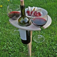 Outdoor Wine Table with Foldable Round Desktop Mini Wooden Picnic Table Easy To Carry Wine Rack Support Dropshipping