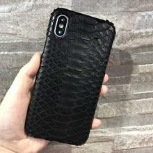 Solque Cao Cấp Da Thật Da Trăn Rắn 3D Trường Hợp Cho iPhone X XS Max 10 Điện Thoại Da Thật Siêu Mỏng bìa Cứng Ốp Lưng
