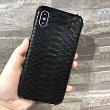 Solque lüks hakiki deri Python cilt yılan 3D kılıfları iPhone X XS Max 10 telefonu gerçek deri Ultra ince sert kapak kılıf