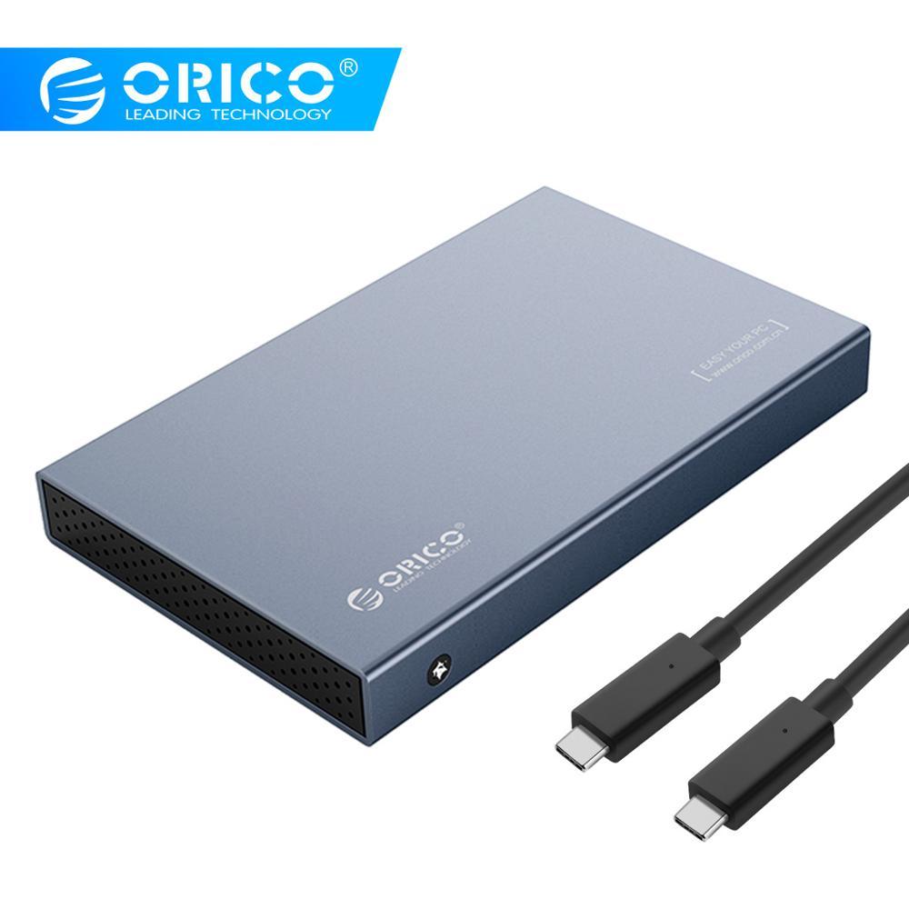 Boîtier de disque dur ORICO 2.5 ''type-c HDD en alliage d'aluminium USB3.1 Gen2 Support de boîtier de disque dur 7mm et 9.5mm avec câble de 50cm C à C