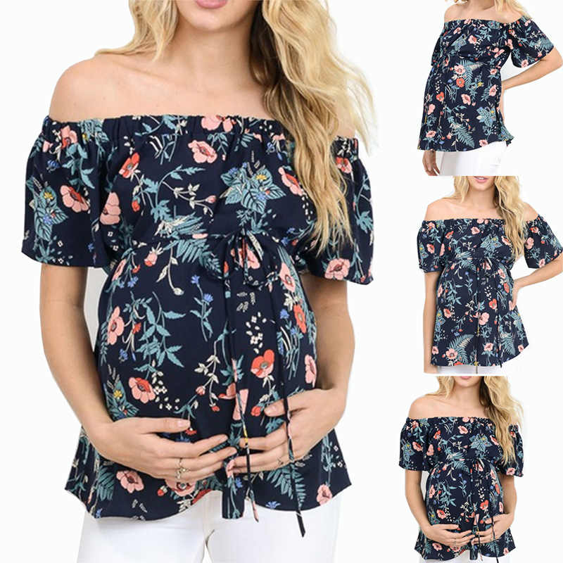 New One-line Collar Loose Tie Short-sleeved Layered Ruffled Straps Tops Pregnant Women Printed Chiffon Shirt Pregnancy Casual Clothes