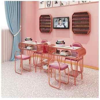 Ins net red marble manicure table and chair set single double gold iron double deck manicure worktable package