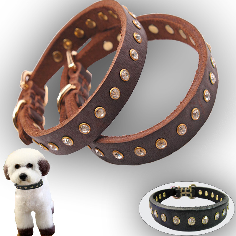 Foreign Trade Leather Puppy Diamond Set Neck Ring Handmade Pet Collar First Layer Of Leather Bite-proof Protector Small Dogs Han