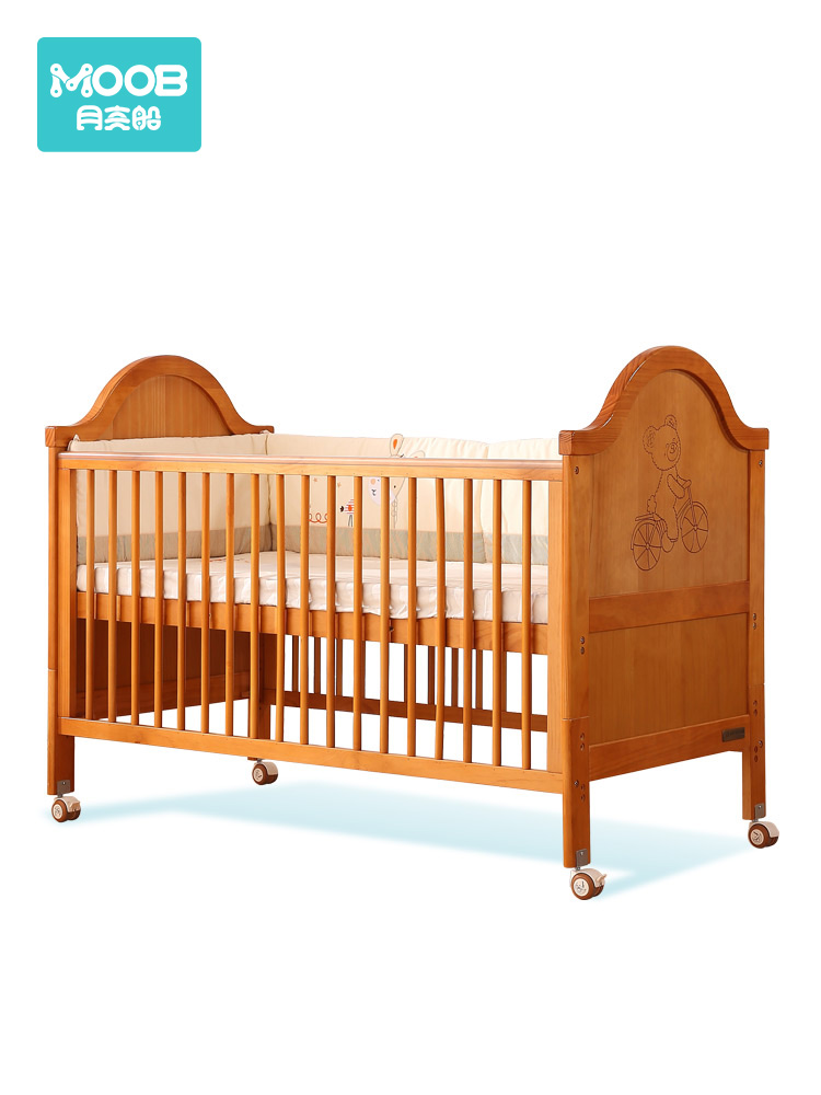 Baby Bed Solid Wood Baby Bed Multi-function Splicing Bed With Roller Crib