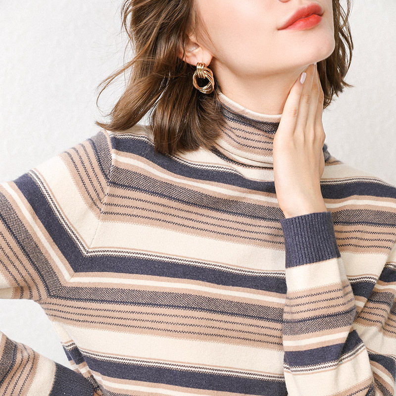 Fall/winter 2019 New High-necked Striped Base Shirt Ladies High-necked Warm Sweater Knit Pullover Long Sleeve Cashmere Sweater