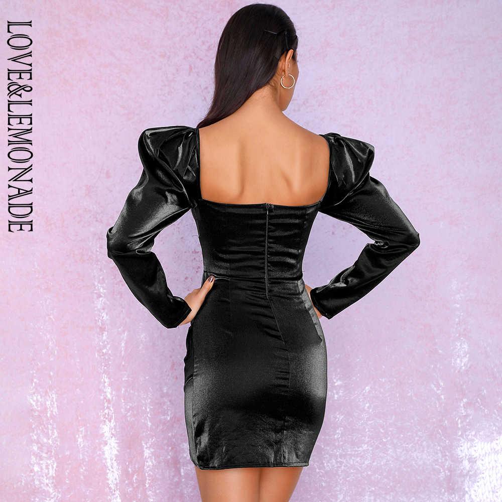 LOVE & LEMONADE черный сексуальный квадратный воротник пузырь с длинным рукавом светоотражающий материал вечерние мини платье lm81982осень/зима