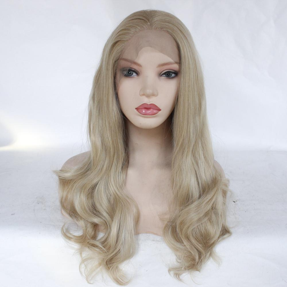 Freeshipping  African Americans Black Women Long Body Wavy Cheap Synthetic Lace Front Wig with Combs &Straps Middle Part