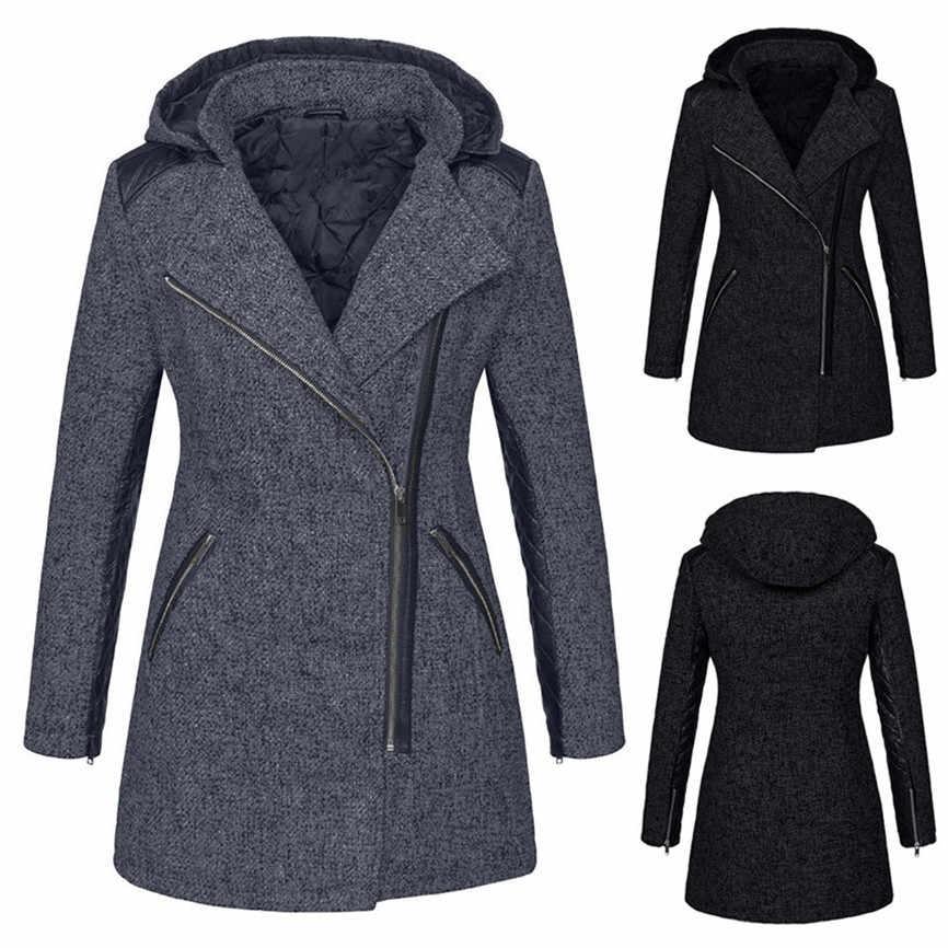 オーバーサイズジャケット女性ジャケット冬スリムジャケット厚いパーカーオーバー冬生き抜くフード付きジッパーのコートサイズプラス